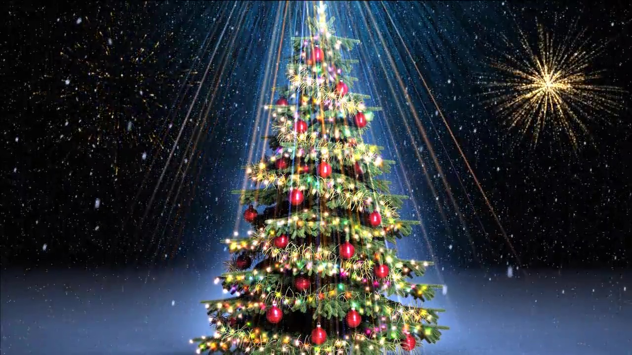 Buy animated christmas tree with garland and fireworks on