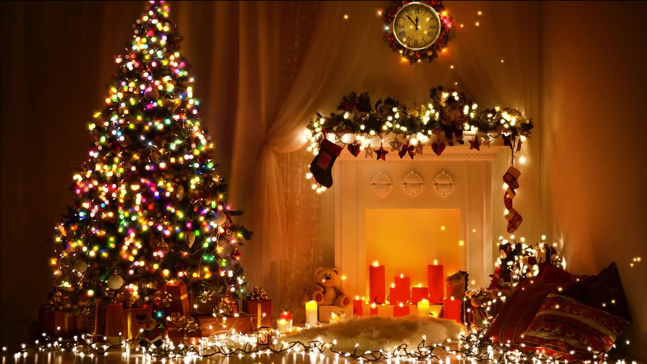 Buy Merry Christmas Magic Video with Fireplace and Xmas tree.