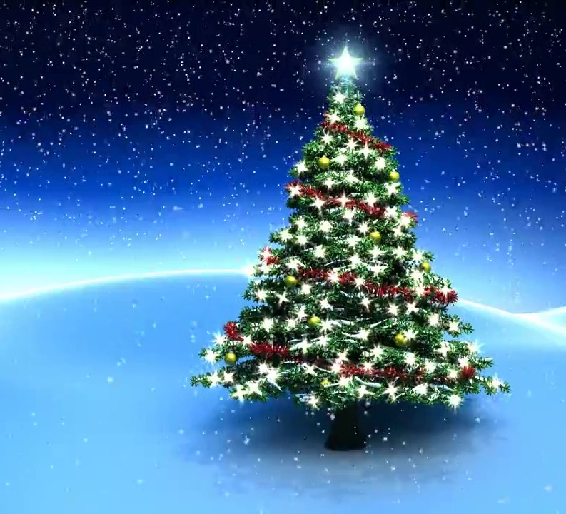 Buy Animated Christmas Tree With Garland And Falling Snow