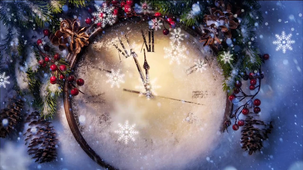 Christmas Time.Magic Time Christmas Clock And Falling Snow
