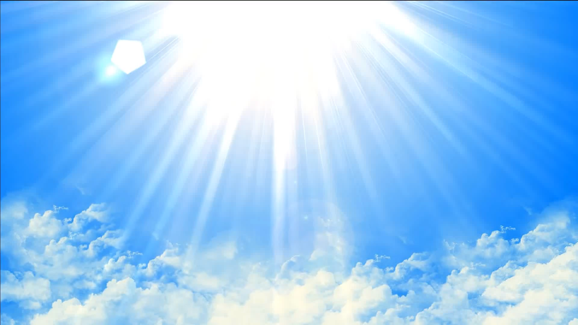 Purchase Animated Sun Shining Light on blue sky background.