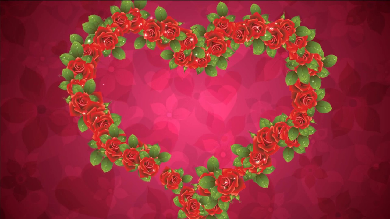 Heart of animated roses for wedding